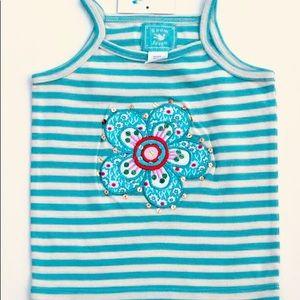 Room Seven Shirts & Tops - ✨Room Seven✨Sz 3T/98EU Blue Stripe Flower Tank